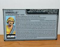"VINTAGE GI JOE ARMADILLO ROLLING THUNDER DRIVER FILE CARD ACCESSORY 3.75"" ARAH"