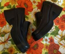 Vtg 90s Steve Madden Iconic Black Leather Chunky Heel platform Loafer Grammy 9.5