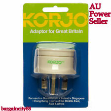 Korjo UK Adaptor Plug Australia AU to Great Britain/Ireland/Singapore/Hong Kong