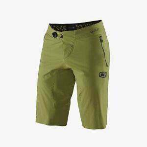100 Percent Men's Celium MTB Cycling Shorts Size 34 Olive Brand New