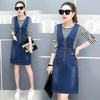 Womens Casual Denim Overall Skirt Suspender Jumper Strap Dress Blue Jean Skirt
