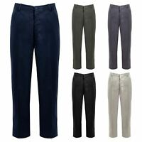 Mens Rugby Workwear Trousers Full Elasticated Stretch Waist Band With Draw Cord