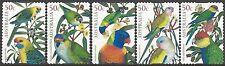 Australia 2005 AUSTRALIAN PARROTS (Birds) Peel & Stick Fine Used (5) SG 2484-8