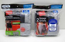 Hanes Mens TAGLESS Boxer Briefs Comfort Flex Waistband 4 Large Black & Grey 2 Pk