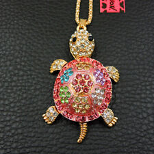 Women's Pink Enamel Crystal Turtle Pendant Betsey Johnson Sweater Necklace
