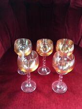 Five Vintage Round Bowl Twisted Rope Stem Amber Wine Glasses