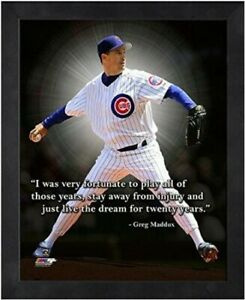 """Greg Maddux Chicago Cubs MLB Pro Quotes Photo (Size: 12"""" x 15"""") Framed"""