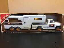 Vintage Tonka pickup truck with fifth wheel trailer with box & 2 figures