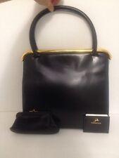 Vintage Koret Genuine Calfskin Black Leather Shoulder Bag Coin Bag Mirror