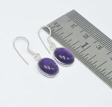 925 Solid Sterling Silver Natural Purple Amethyst Hook Earring W07354