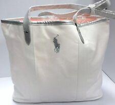 43f396f9b2a Ralph Lauren White Big Pony Canvas Medium Tote Gym Bag Weekender Travel Bag  NEW