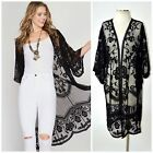 She + Sky Boho Crochet Lace Bell Sleeve Long Kimono Duster Cardigan Black Cream