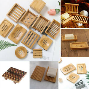 Wood Soap Dish Holder Drain Tray Storage Plate Rack Non-slip Container Bathroom