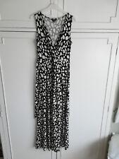 Hobbs Maxi Jersey Dress Black & White Spot Print - Size 10