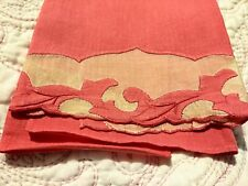 """Gorgeous Tomato Red Madeira Shadow Work & Embroidered Linen Towel 20 x 13"""""""
