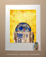 Star Wars R2-D2 Vintage Kenner Action Figure ORIGINAL ART PRINT 3.75 Artwork