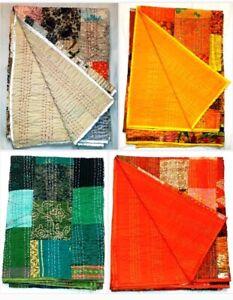 Indian Handmade Silk Kantha-Work Quilt Throw Twin Size Vintage Blanket-Bedspread