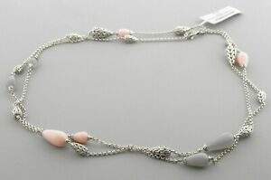 NEW JOHN HARDY STERLING SILVER CLASSIC CHAIN STATION MOONSTONE PINK NECKLACE 36""