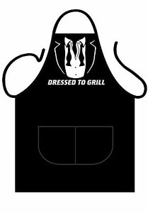 MENS/WOMENS,BLACK PRINTED NOVELTY APRON,KITCHEN OR BBQ,DRESSED TO GRILL, BOND