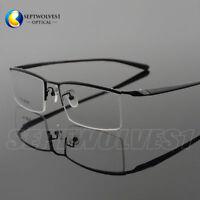 New Men's  Pure Titanium +TR90 Half Rimless Eyeglasses Frames Optical Rx Able