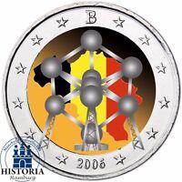Belgien 2 Euro Münze Atomium in Brüssel 2006 Stempelglanz Gedenkmünze in Farbe