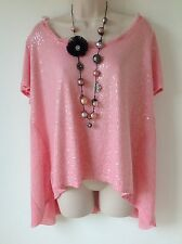 J S MILLENIUM MADE IN ITALY PINK CHIFFON SEQUIN FINE KNIT TUNIC TOP LAGENLOOK