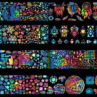 8PCS Laser Nail Art Transfer Nail Stickers Decal Rainbow Foil Galaxy Gel Tips