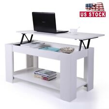 Wood Lift Top Coffee Table with Storage Space White Living Room Furniture