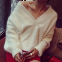 Lady Sexy V Neck Fluffy Soft Jumper Long Sleeve Loose Knit Sweater Pullover Top