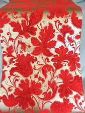 RED  FLOCK   PAISLEY   WALLPAPER   Gold  BACKGROUND        Retro VINTAGE