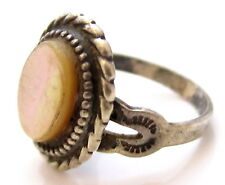 Mother Of Pearl Cab Vintage Signed Sterling Silver 925 Pinky Ring*Size 4.5*E414
