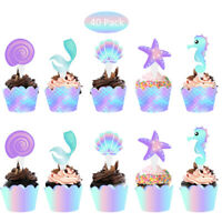 40Pcs/lot Mermaid Cake Topper Baby Shower Birthday Party Supplies Dessert Decor