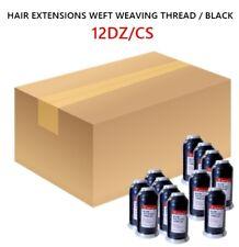 HAIR EXTENSIONS WEFT WEAVING COTTON THREAD WATERPROOF, BLACK, 500M / 12DZ