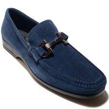 NIB Ferragamo Gancini Bit Blue 11 D 44 Men's Suede Dress Loafers Casual Moccasin