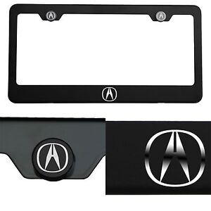 Laser Engraved Acura Logo Mirror Matte Black License Plate Frame Stainless Steel