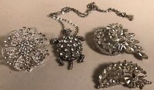 Costume, Silver Tone Feux Diamond Accent Turtle Necklace Jewelry, Brooches.
