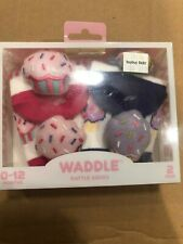 Waddle 2 Pack Starfish Baby Rattle Socks Newborn 0-12 Months Pink Purple