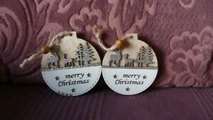 Two Decorations for Christmas Tree-Wooden Bauble Shapes Silver Glitter Scene-New