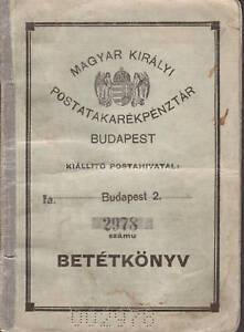 Hungary, 1927 Postal Savings Book, 8 pages. BETÉTKÖNYV