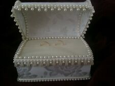Wedding ring bearer pillow chest beads white or ivory