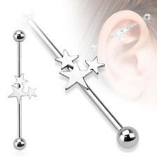 New Surgical Steel Pretty Triple Star Industrial Scaffold Piercing Barbell 38mm