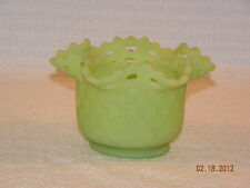 Great Fenton Green Satin Basket Weave with Open Lattice Bowl