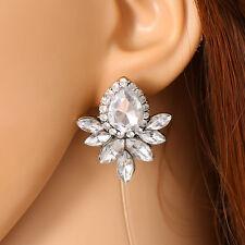 Fashion Elegant Flower Crystal Rhinestone Ear Clip Dangle Drop Ear Stud Earrings