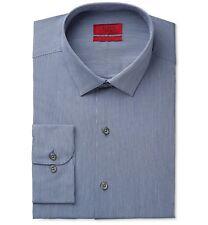 $95 Alfani Men Fitted Blue Stripe Long-Sleeve Button Dress Shirt 15-15.5 34/35 M