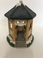 St Nicholas Square White Gazebo With Blue Roof Original Box Christmas Village