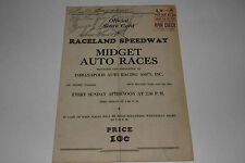 Midget Auto Races Program, Indiana Raceland Speedway, Sept 9, 1945 Autographs