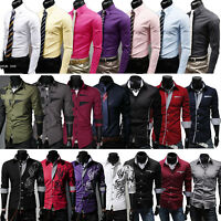 Men Slim Fit Casual Formal Business Long Sleeve Dress Shirts Tops T Shirt Blouse