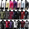 Men Slim Fit Casual Formal Business Long Sleeve Dress Shirts Tops Plain T Shirt