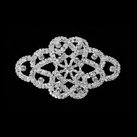 Diamond Crystal Silver Sew On Motif for Party Dress Formal Applique Patch
