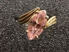 Marquise Pink Ice Sapphire 10k Yellow Gold Ring Size 6.25